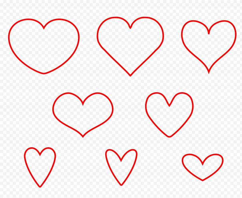 Red Heart Outline. - Silhouette PNG