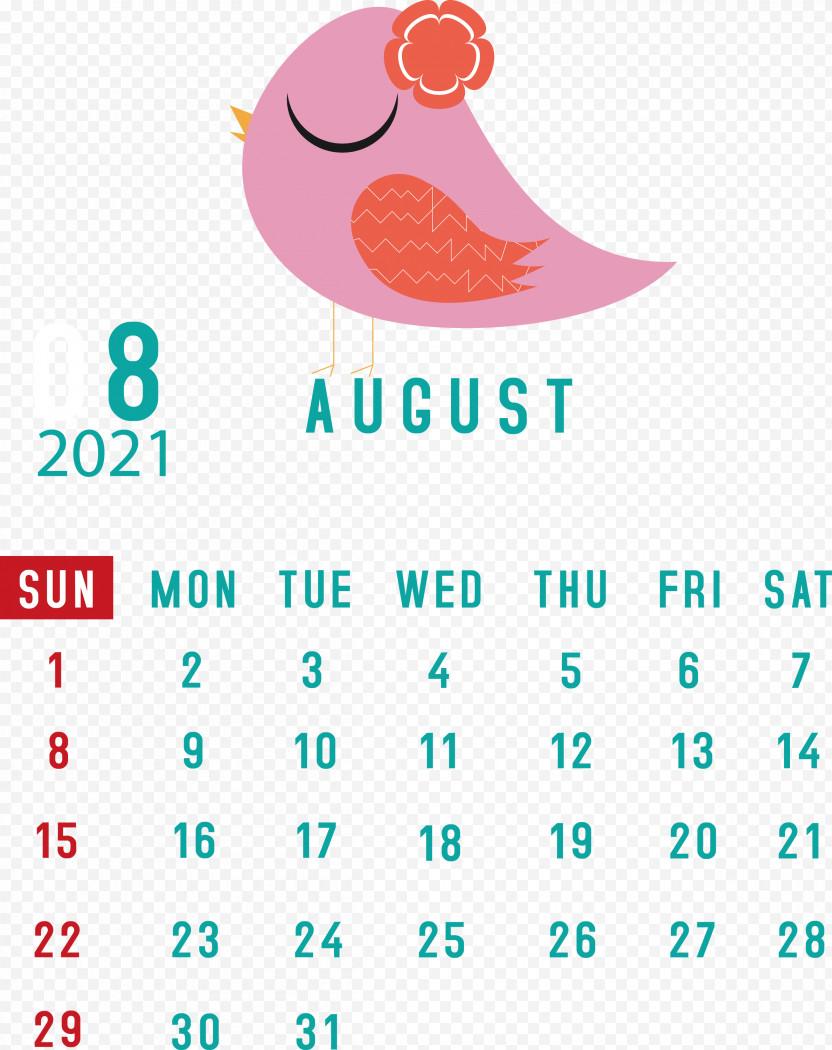 August 2021 Calendar August Calendar 2021 Calendar PNG