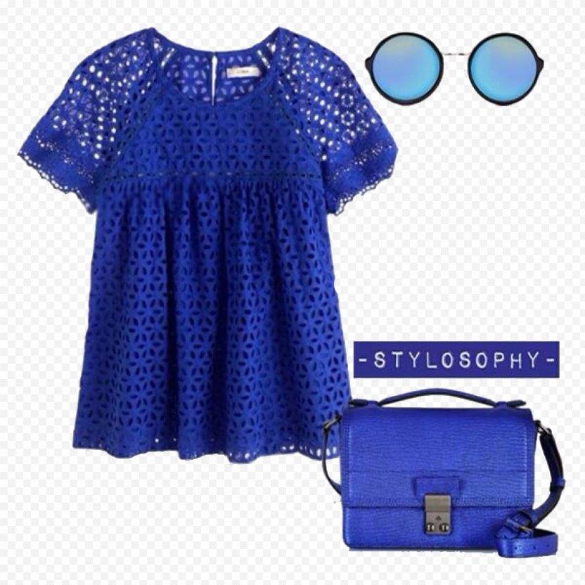 Dress Blue Sleeve Blouse Polka Dot PNG
