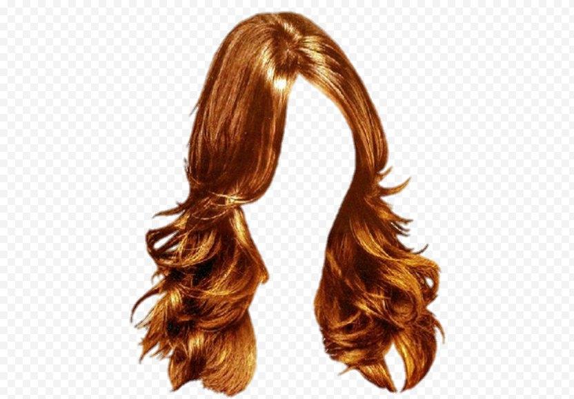 Long Hair Wig - Caramel Color PNG