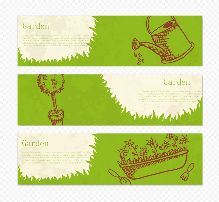 Green Garden Banner Vector Material - Tree PNG