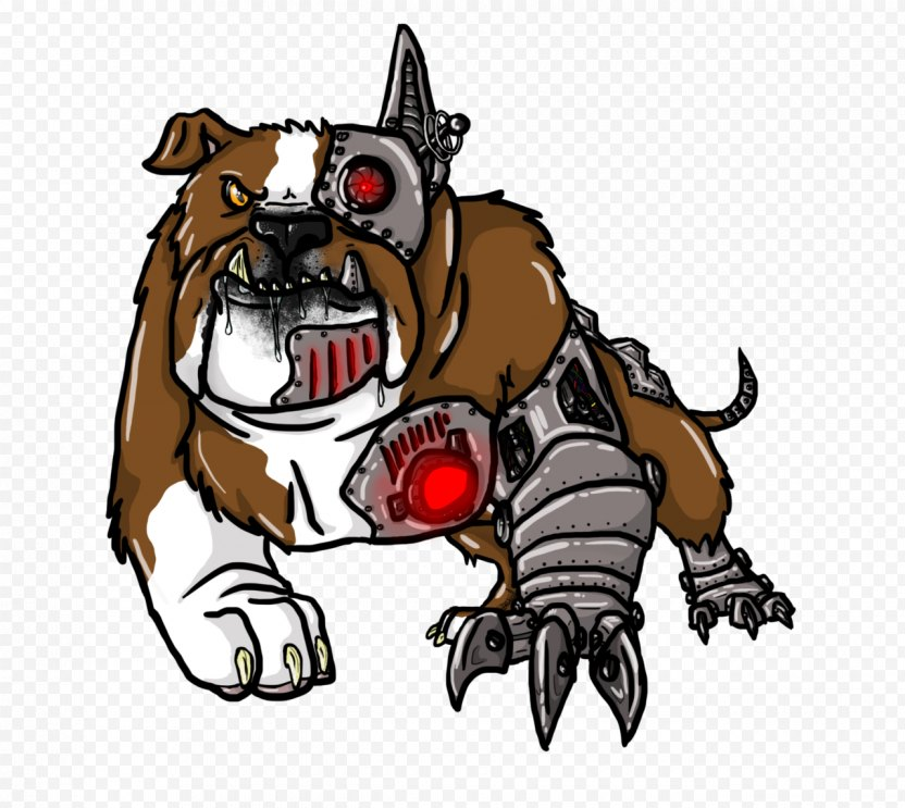 Bulldog Cyborg Puppy Drawing DeviantArt PNG