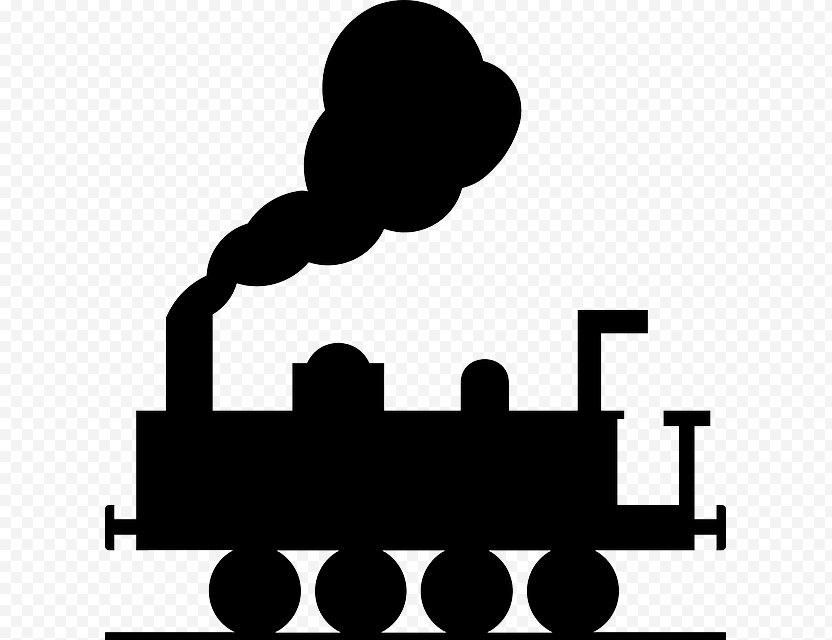 Train Rail Transport Steam Locomotive Clip Art - Black And White PNG
